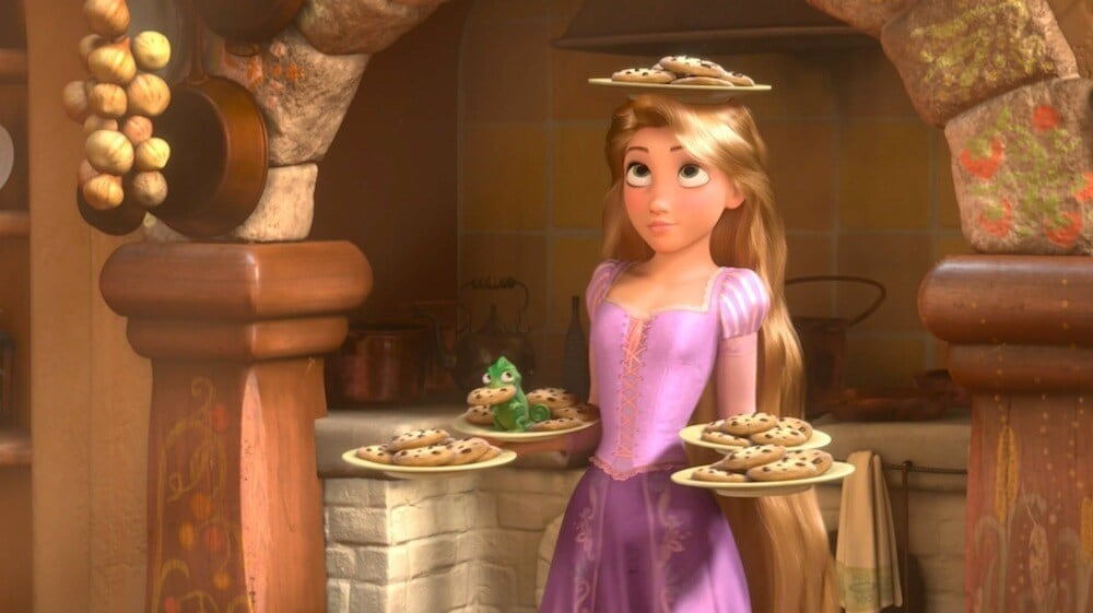 "Rapunzel in her tower, balancing a plate of cookies on her head, from the movie ""Tangled"""
