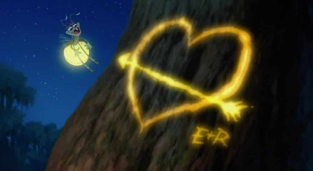 """Ray and Evangeline's initials on a tree in the movie """"The Princess and the Frog"""""""