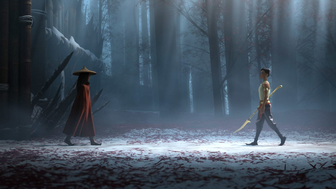 "Raya and her nemesis, Namaari, face off amid the snowy mountains of Spine. Featuring Kelly Marie Tran as the voice of Raya and Gemma Chan as the voice of Namaari, Walt Disney Animation Studios' ""Raya and the Last Dragon"" will be in theaters and on Disney+ with Premier Access on March 5, 2021. © 2021 Disney. All Rights Reserved."
