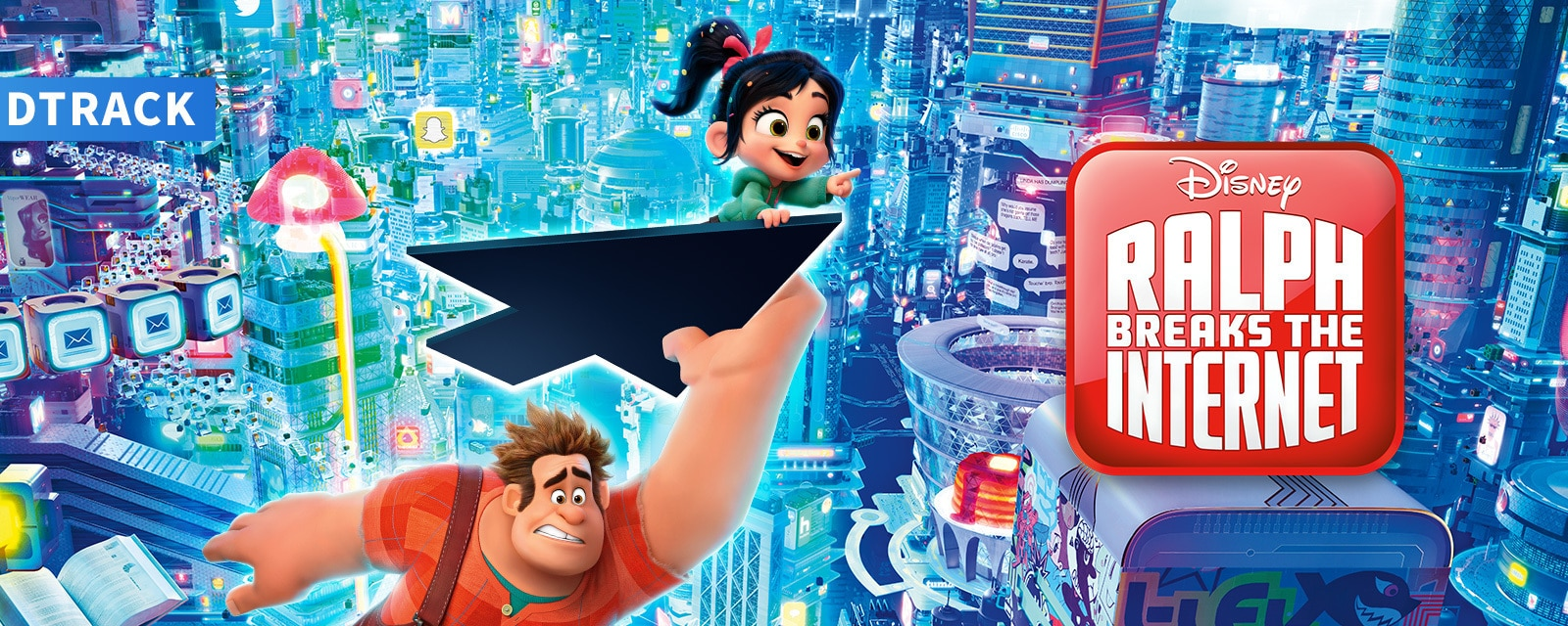 Venellope flying on a mouse cursor with Ralph holding on the bottom