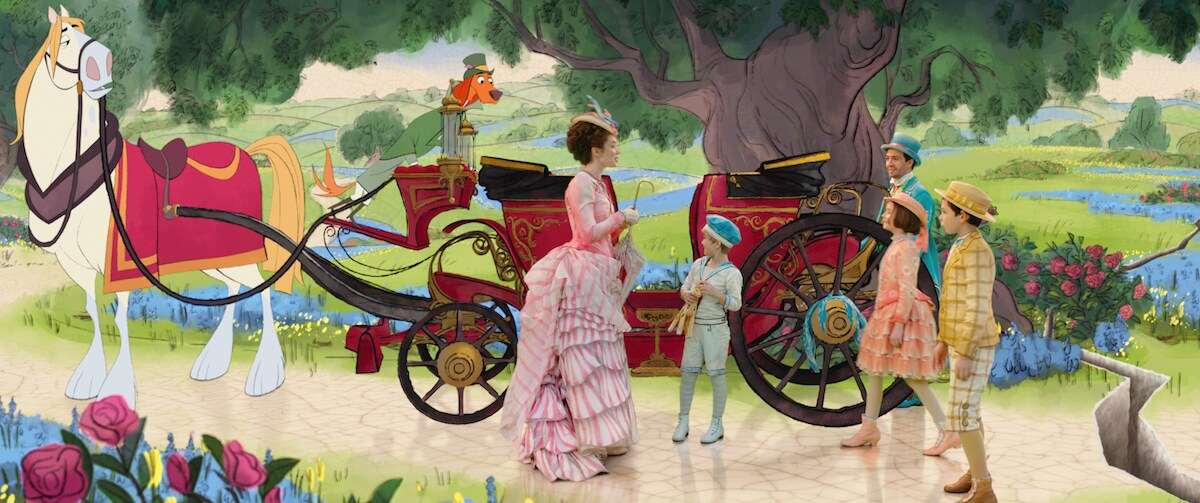 Mary Poppins, Georgie, Jack, Annabel, and John standing in front of an animated red carriage drawn by a white horse