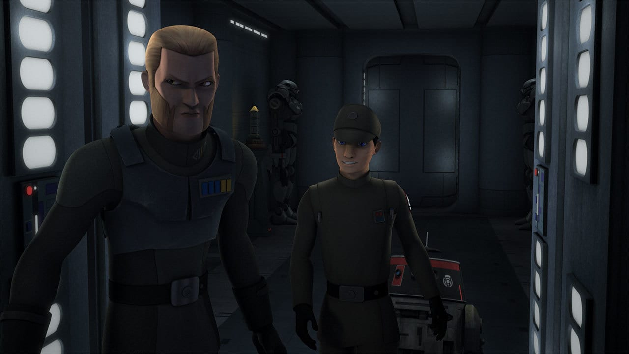 Agent Kallus as Fulcrum assisting a disguised Ezra Bridger and Chopper