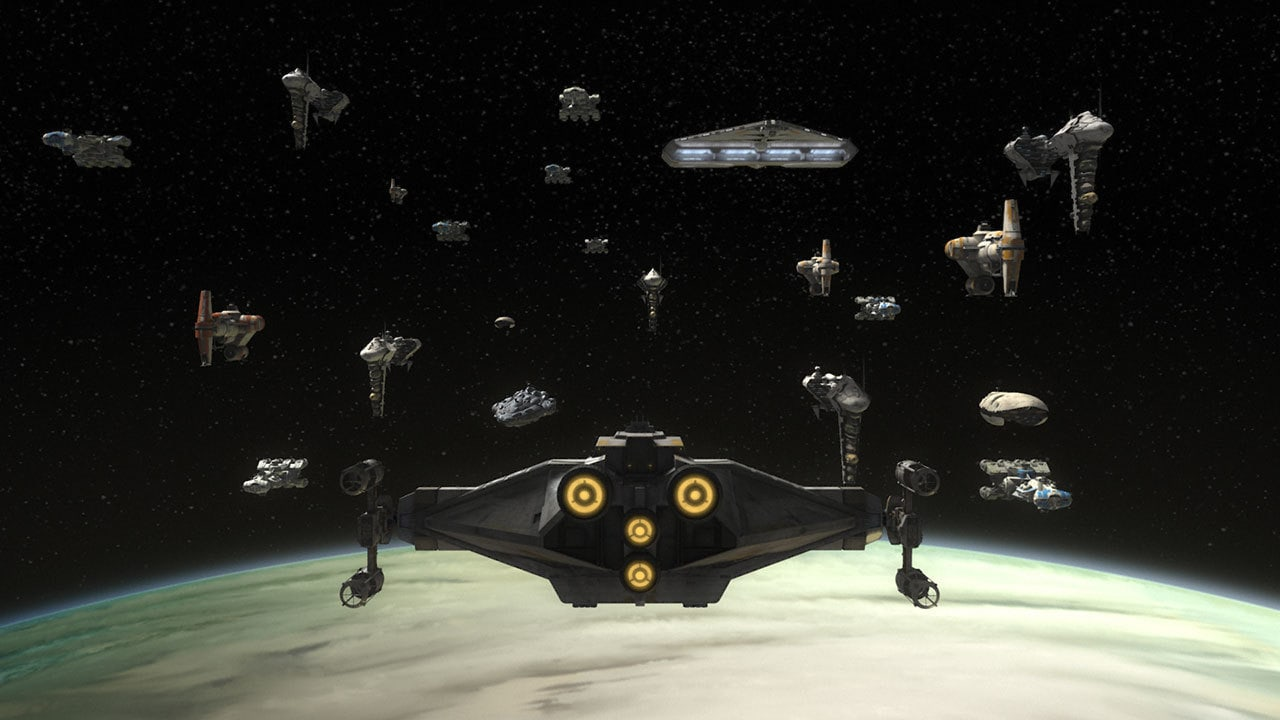 The Ghost hovering amidst the Rebel Fleet