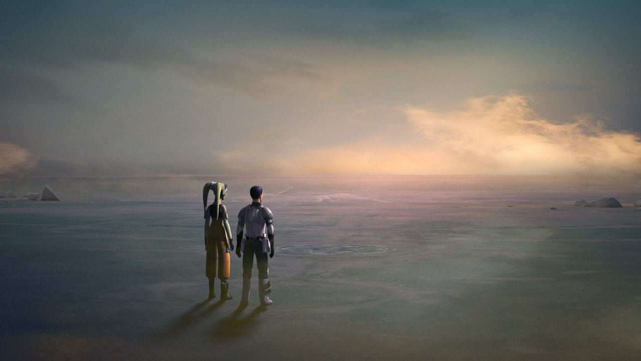Hera Syndulla and Ezra Bridger remembering Kanan Jarrus in front of the Jedi Temple