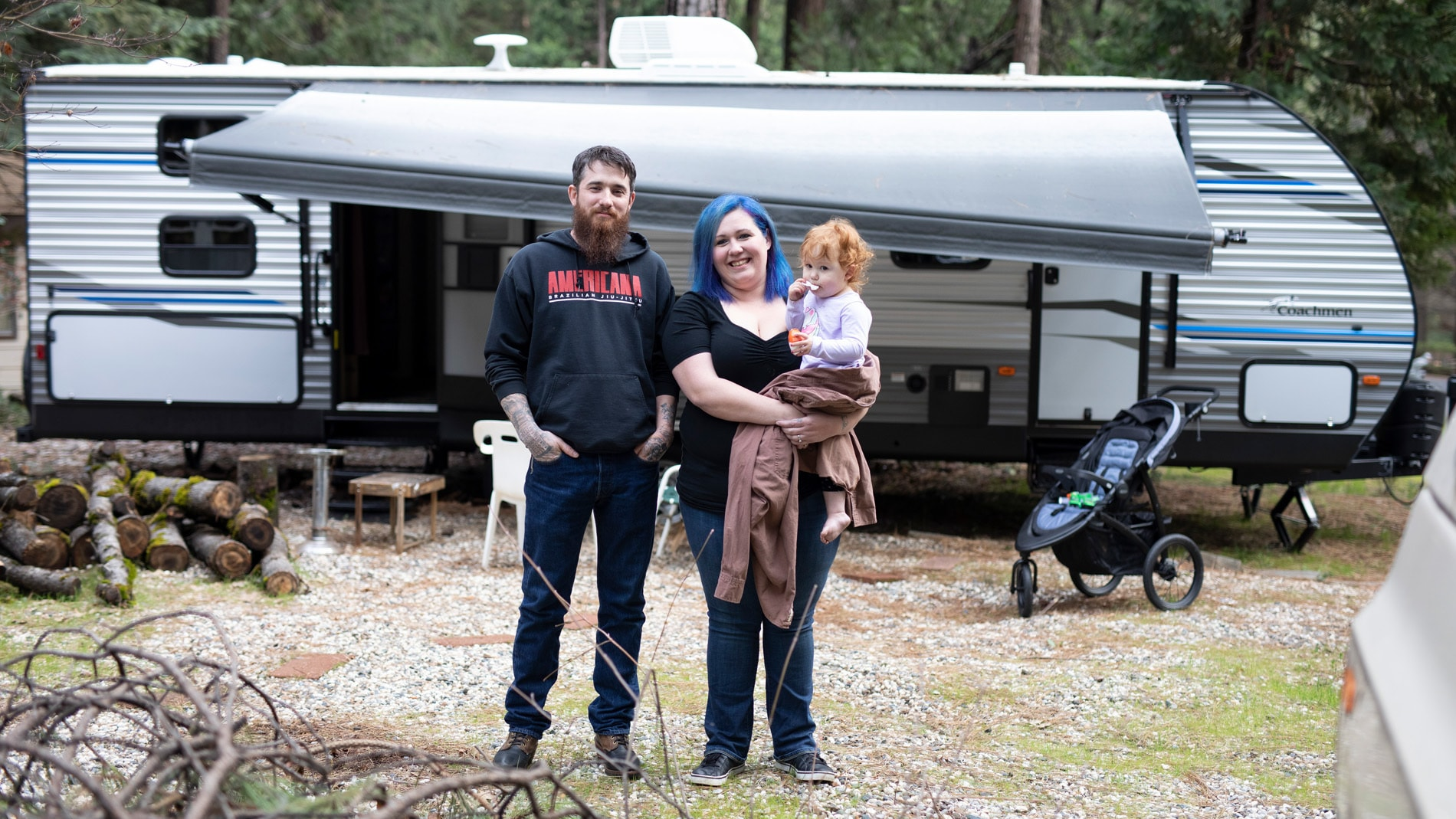 The Cox Family in front of their trailer in Magalia, CA. (National Geographic/Lincoln Else)