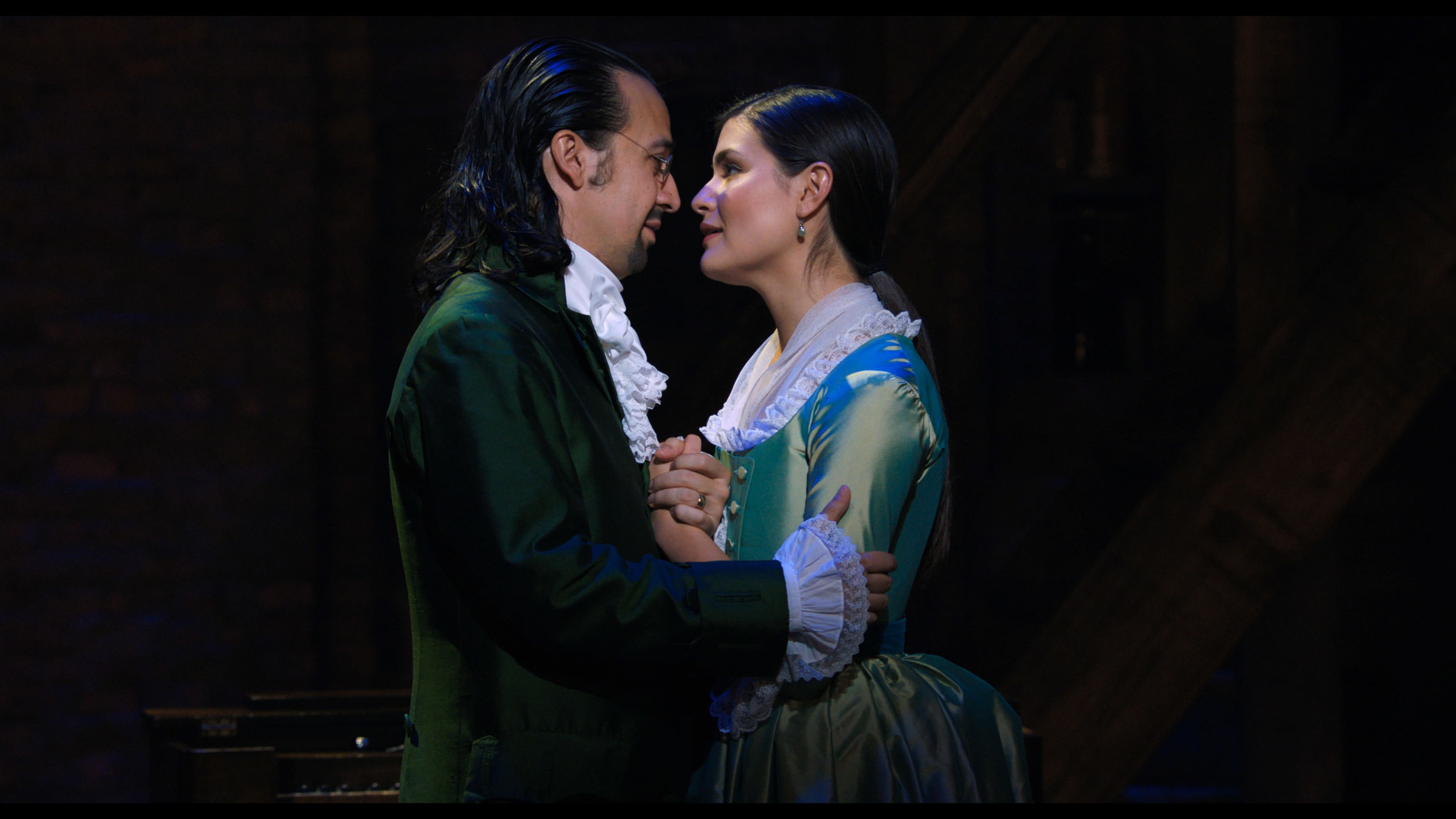 Lin-Manuel Miranda is Alexander Hamilton and Phillipa Soo is Eliza Hamilton in HAMILTON, the filmed version of the original Broadway production.