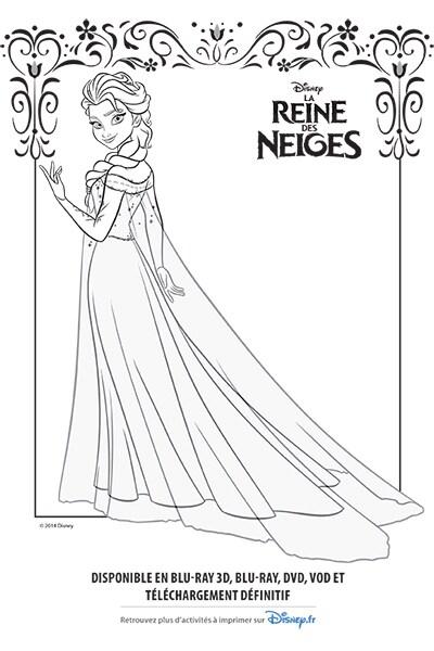Coloriage Elsa et sa robe glacée