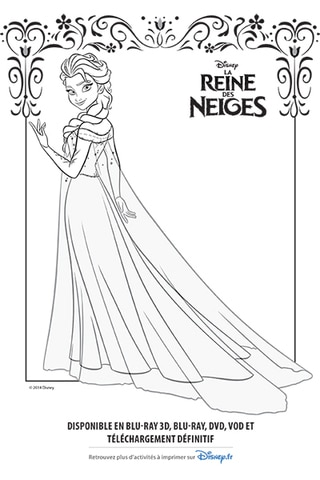 coloriage elsa et sa robe glace