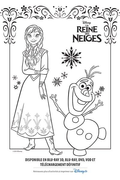 Coloriage Anna et Olaf