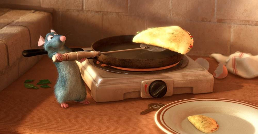"""Remy makes an omelet in the animated movie """"Ratatouille"""""""