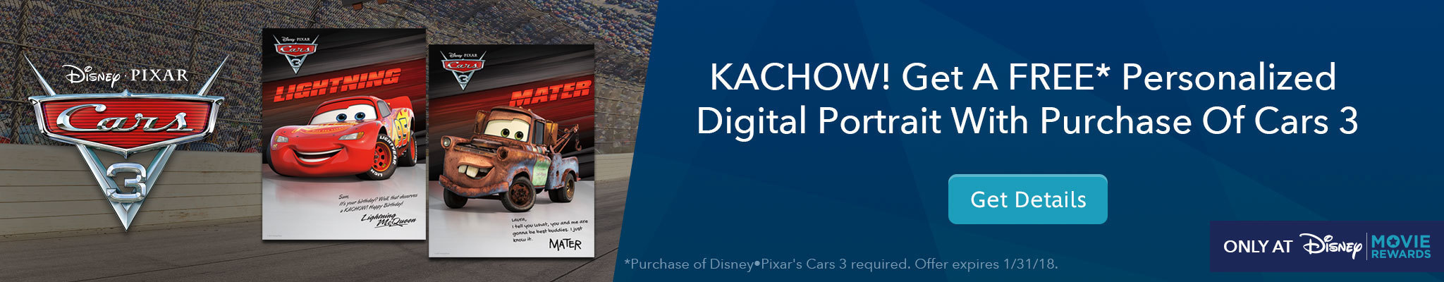 Get a free personalized digital portrait with Purchase of Cars 3