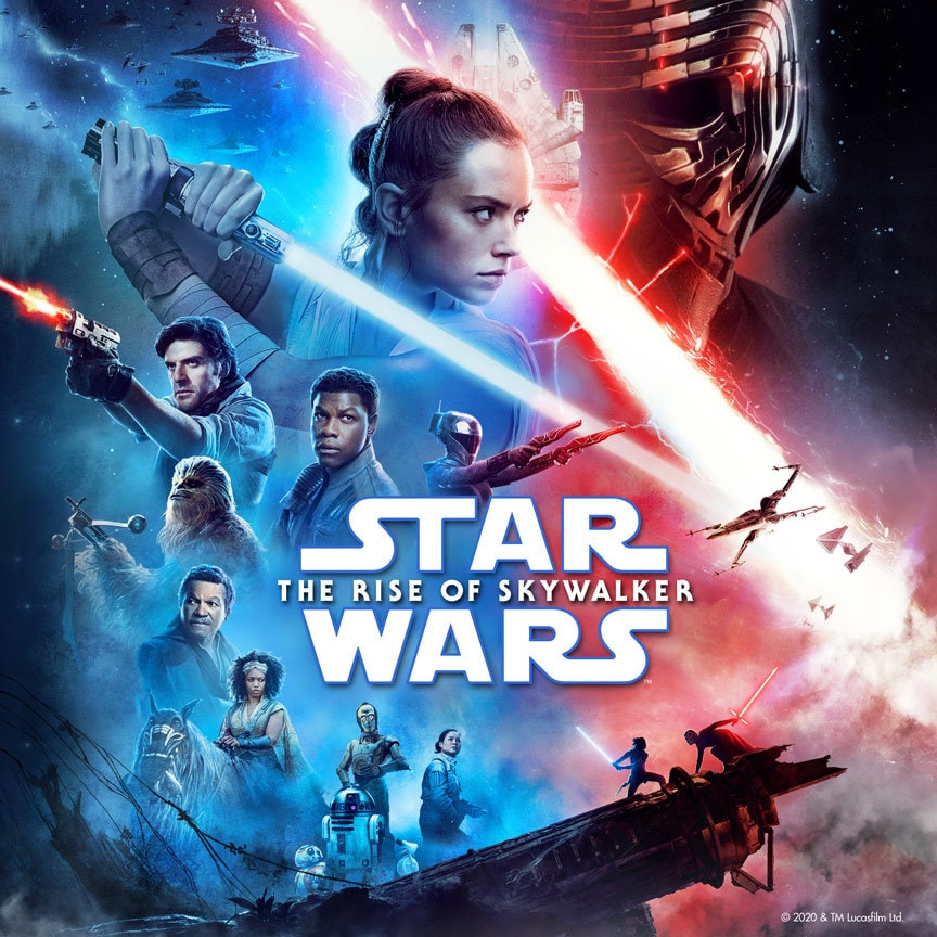 Star Wars: the rise of the skywalker movie poster with Rey, Kylo, Poe, Finn and cast