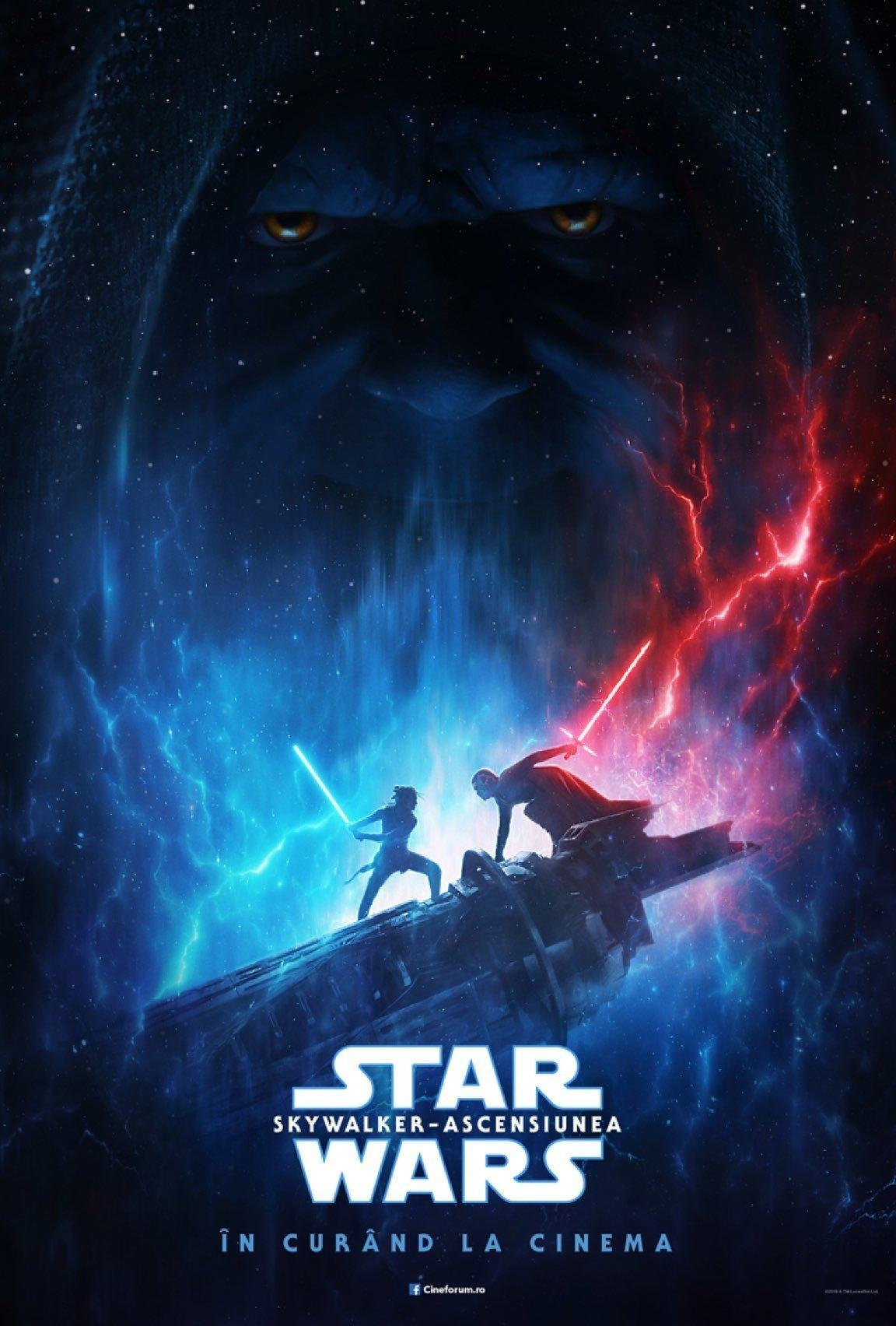 Afiș care îi prezintă pe Rey și Kylo Ren luptându-se cu sabiile laser și în fundal cu chipul împăratului Palpatine