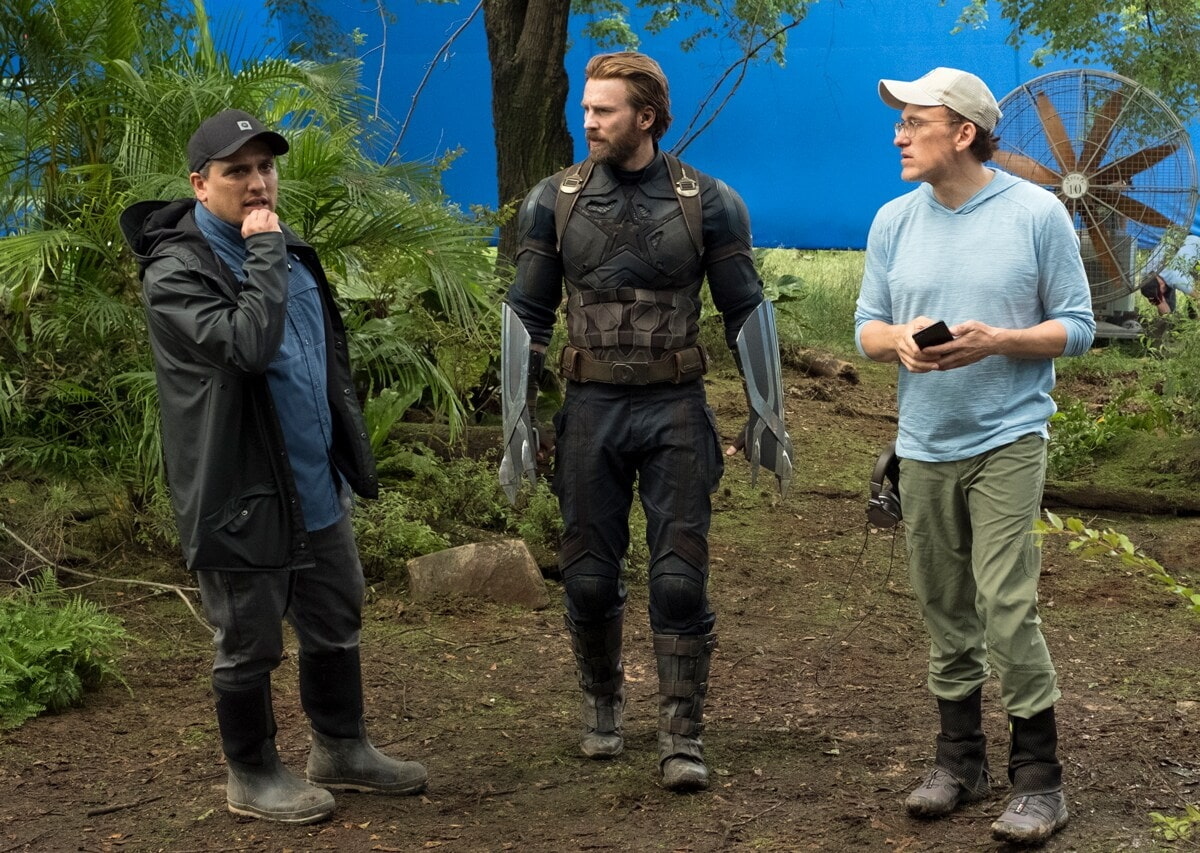 Directors Anthony and Joe Russo on the Set of Avengers: Infinity War with Chri Evans who plays Captain America.