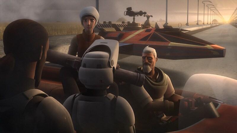 Ryder Azadi pilotting a speeder for Kanan Jarrus and Ezra Bridger
