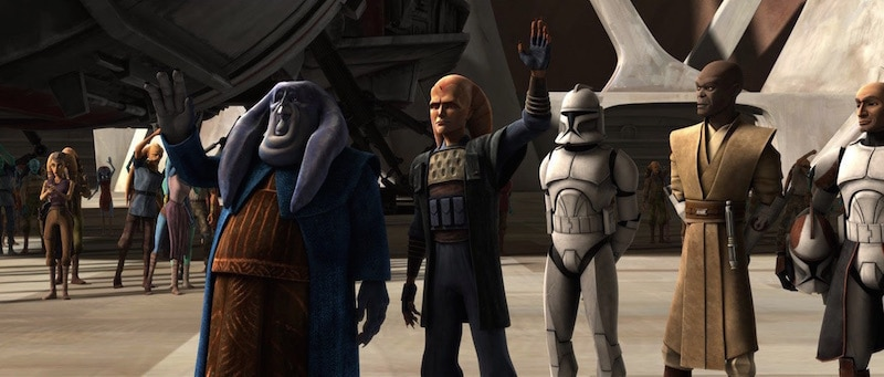 Orn Free Taa, Cham Syndulla, and Mace Windu celebrating a Republic victory on Ryloth