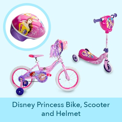 Disney Princess Bike, Scooter and Helmet