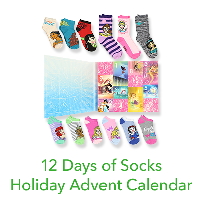 Disney Princess Girls 12 Days of Socks Holiday Advent Calendar