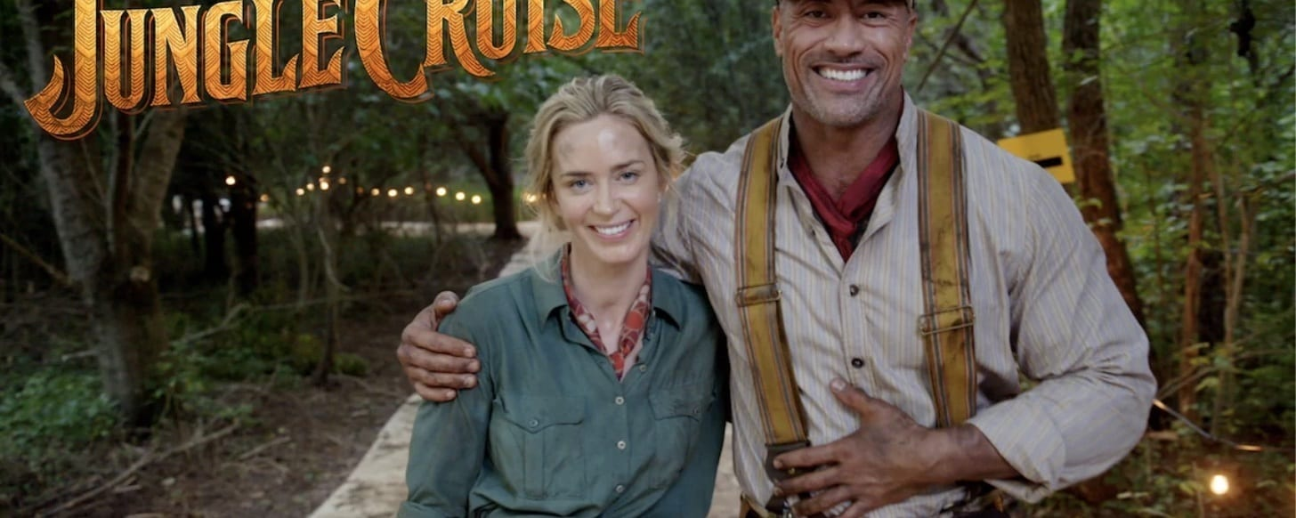 Emily Blunt and Dwayne Johnson on set of Disney's Jungle Cruise
