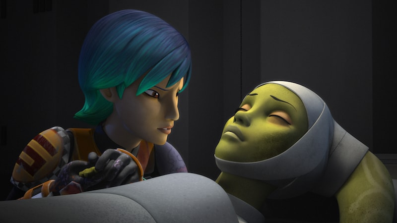 Sabine Wren watching over a critically injured Hera Syndulla