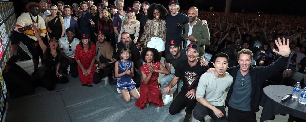 marvel studios actors on san diego comic con stage