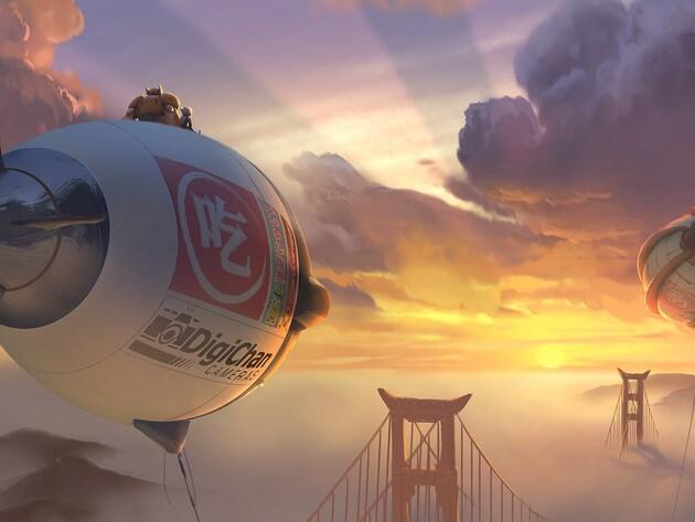 Hiro and Baymax watch the San Fransokyo sunset.