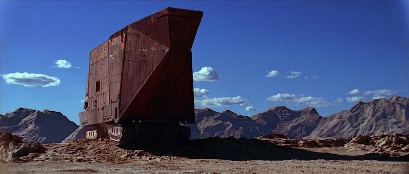 A Sandcrawler traversing the deserts on Tatooine