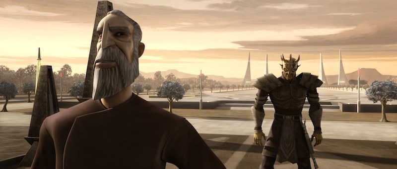 Count Dooku teaching Savage Opress the ways of the Sith