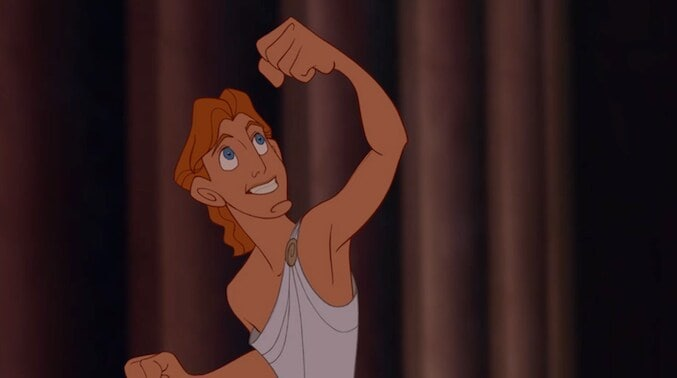 "Hercules with his fist raised in the animated movie ""Hercules"""
