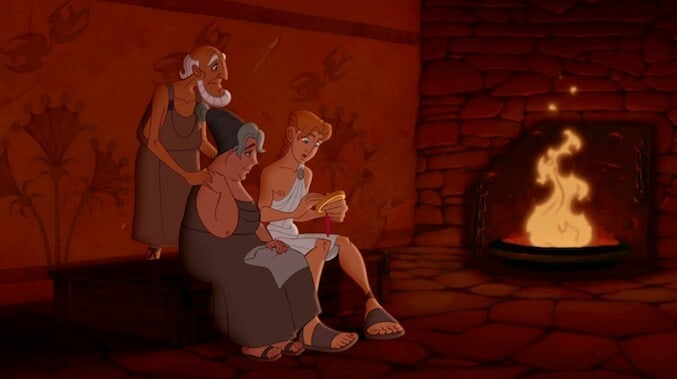 "Hercules sitting next to a fire with his family in the animated film ""Hercules"""