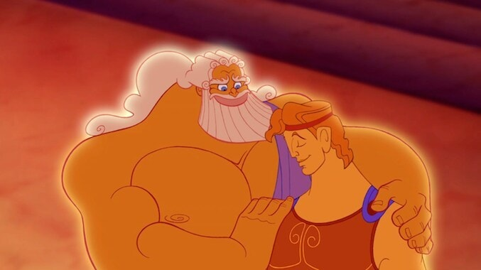 "Zues with his arm around Hercules in the animated movie ""Hercules"""