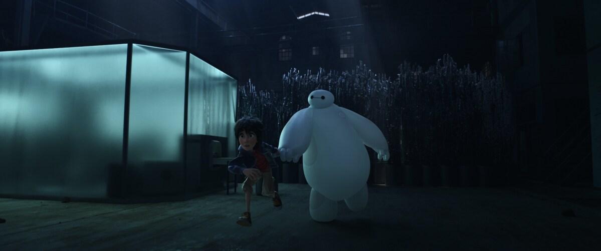 "Baymax and Hiro running in the animated movie ""Big Hero 6"""