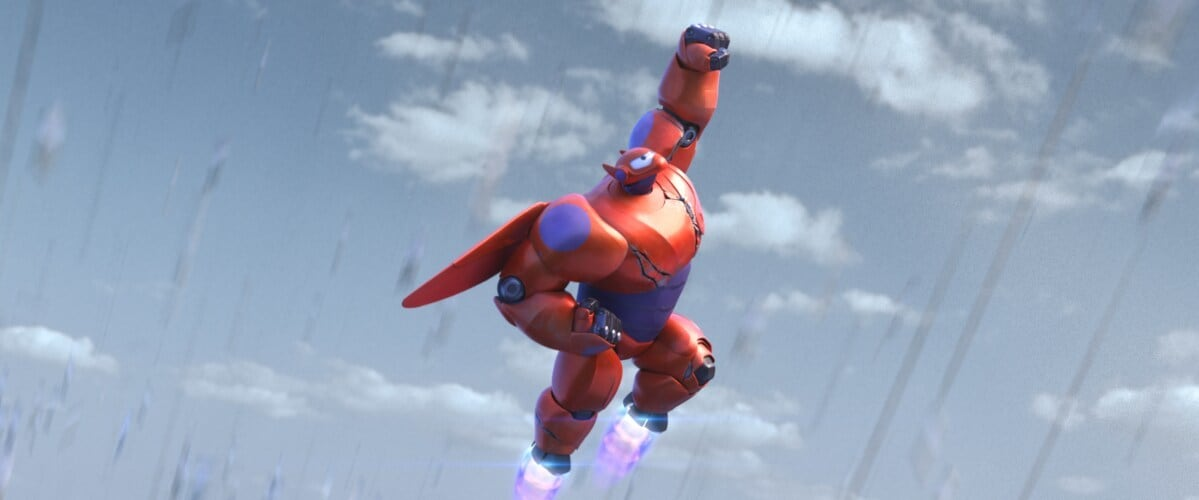 """Baymax flying in the animated movie """"Big Hero 6"""""""