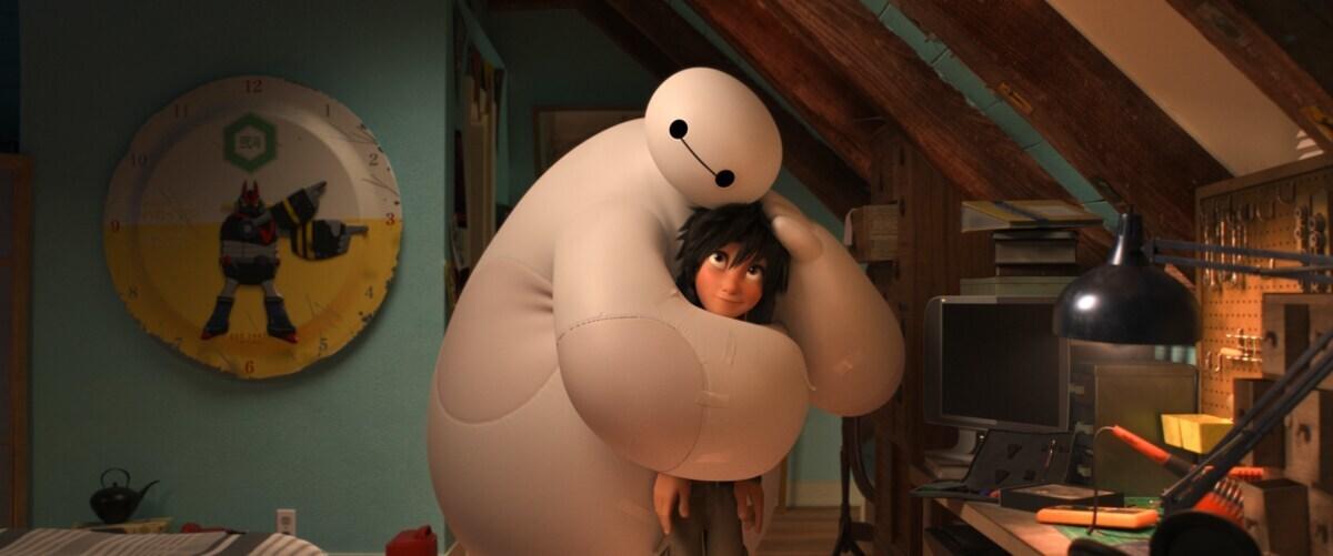 "Baymax hugging Hiro in the animated movie ""Big Hero 6"""