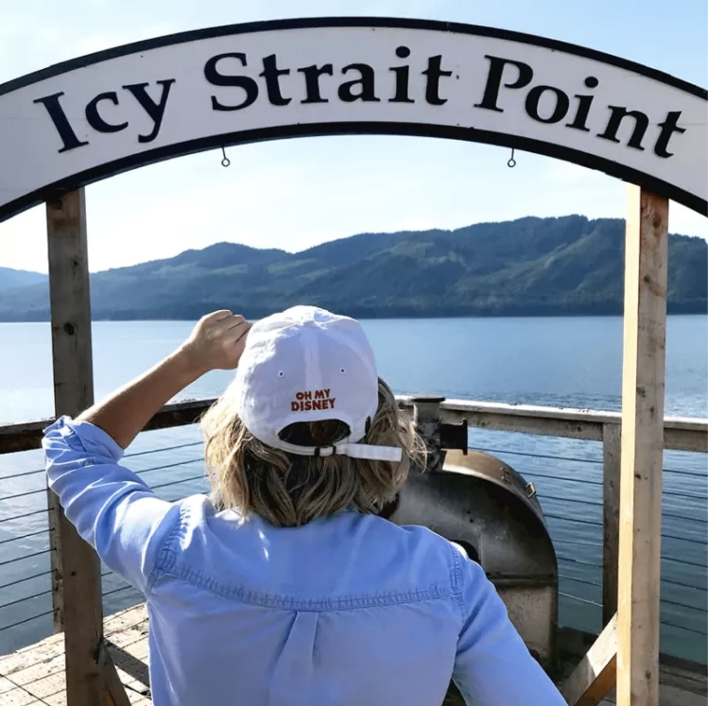 Icy Strait Point Sign in Alaska with Oh My Disney hat