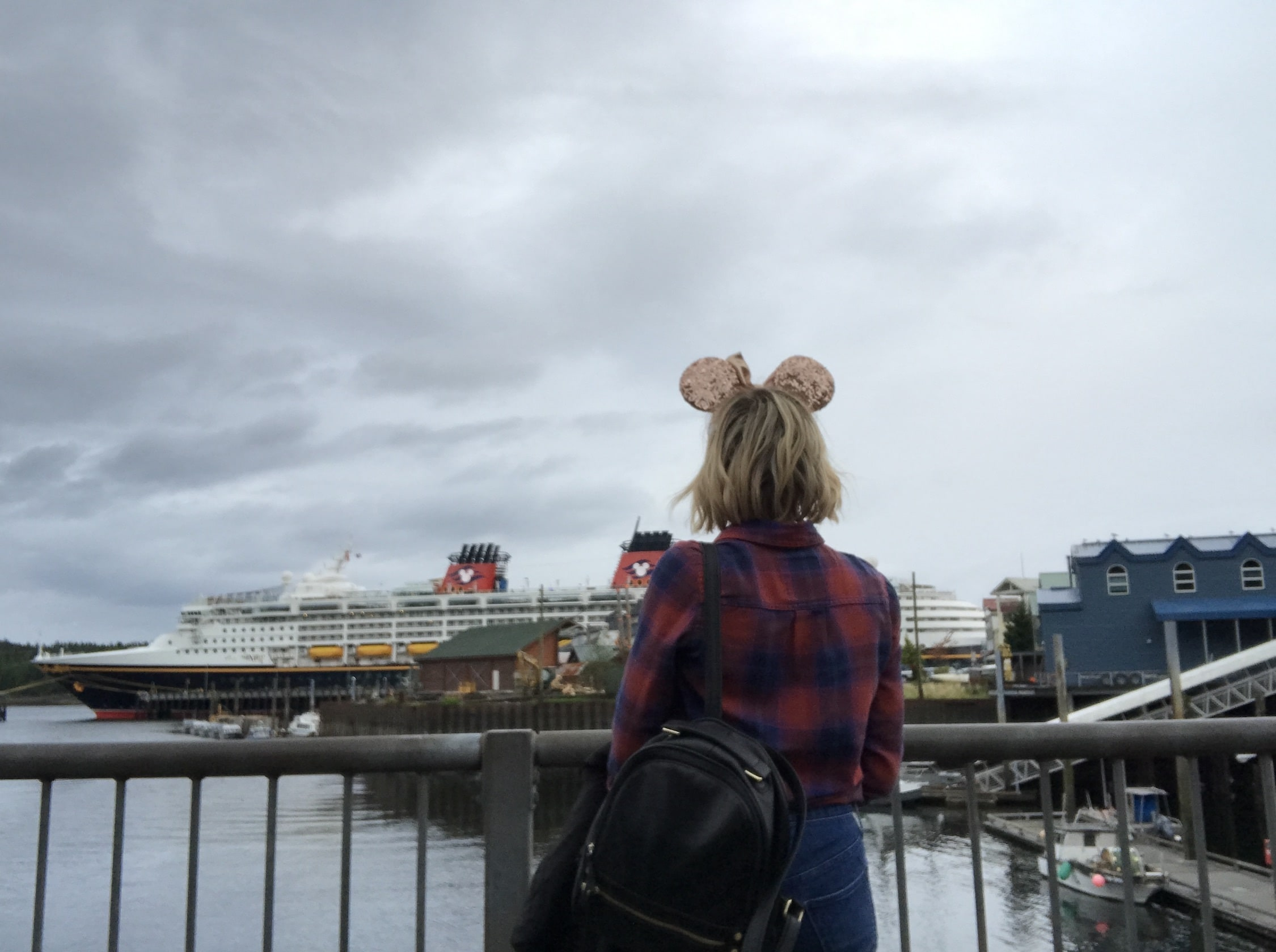 View of the Disney Wonder from Ketchikan with Host Wearing Minnie Ears