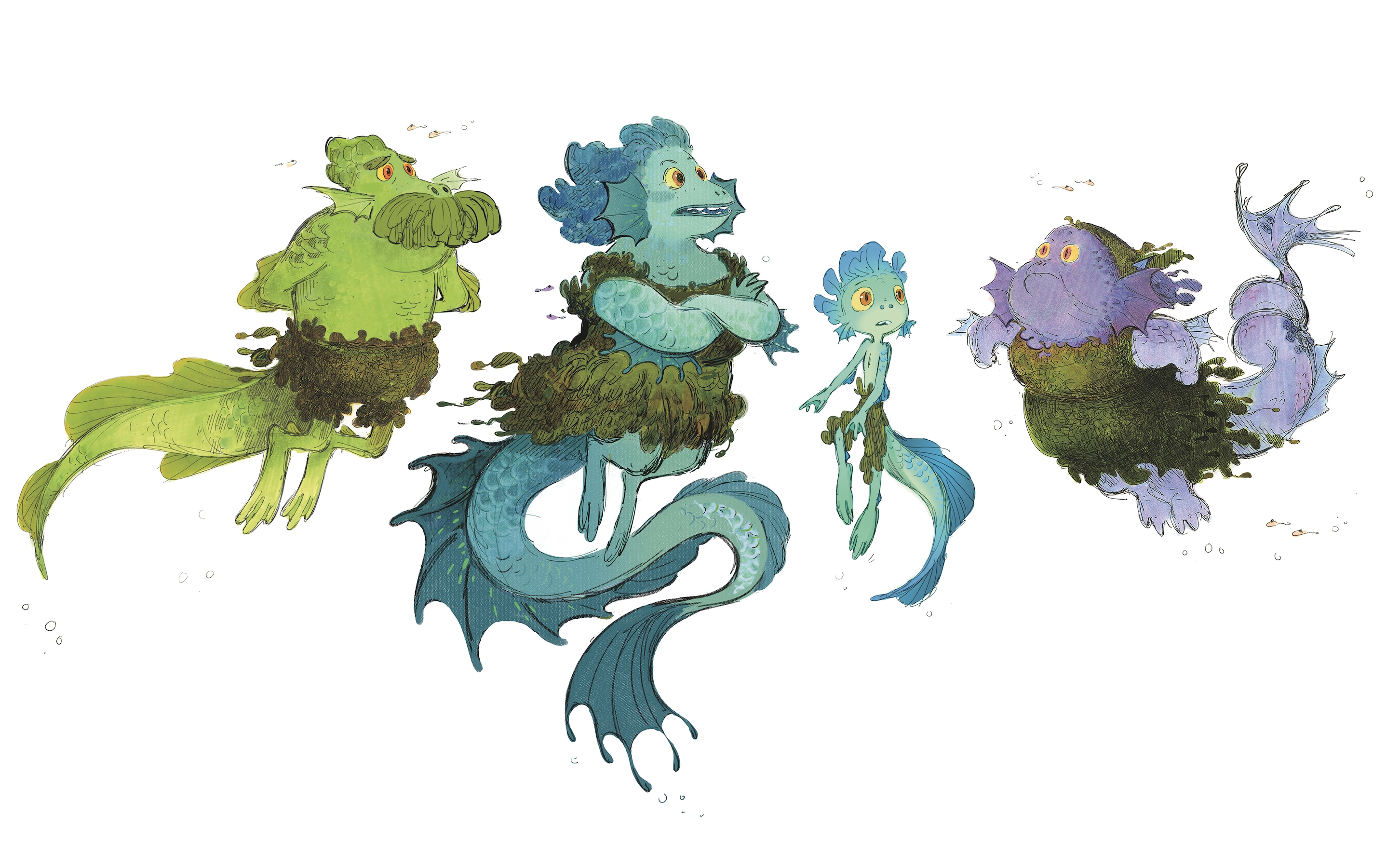 character designs of Luca and his family as sea monsters
