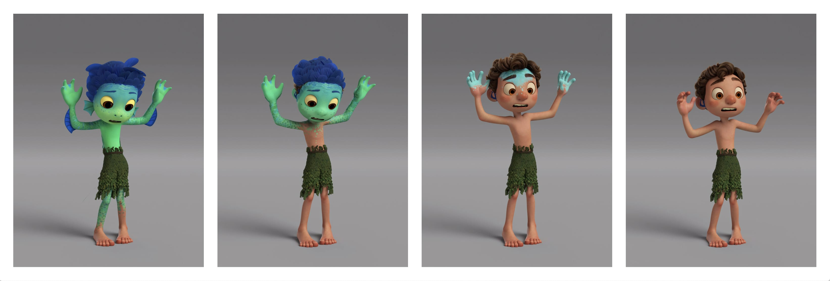 progression of Luca's transformation from sea monster to human