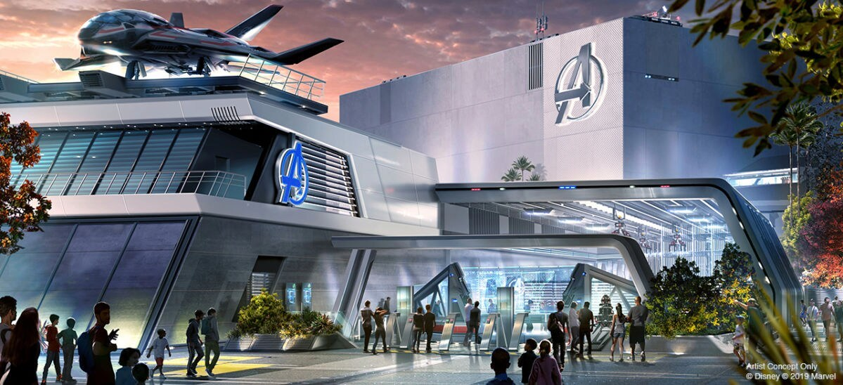 Concept Art showing the outside of the Avengers Headquarters in the upcoming Super Hero-themed land