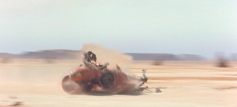 Sebulba crashing in his podracer