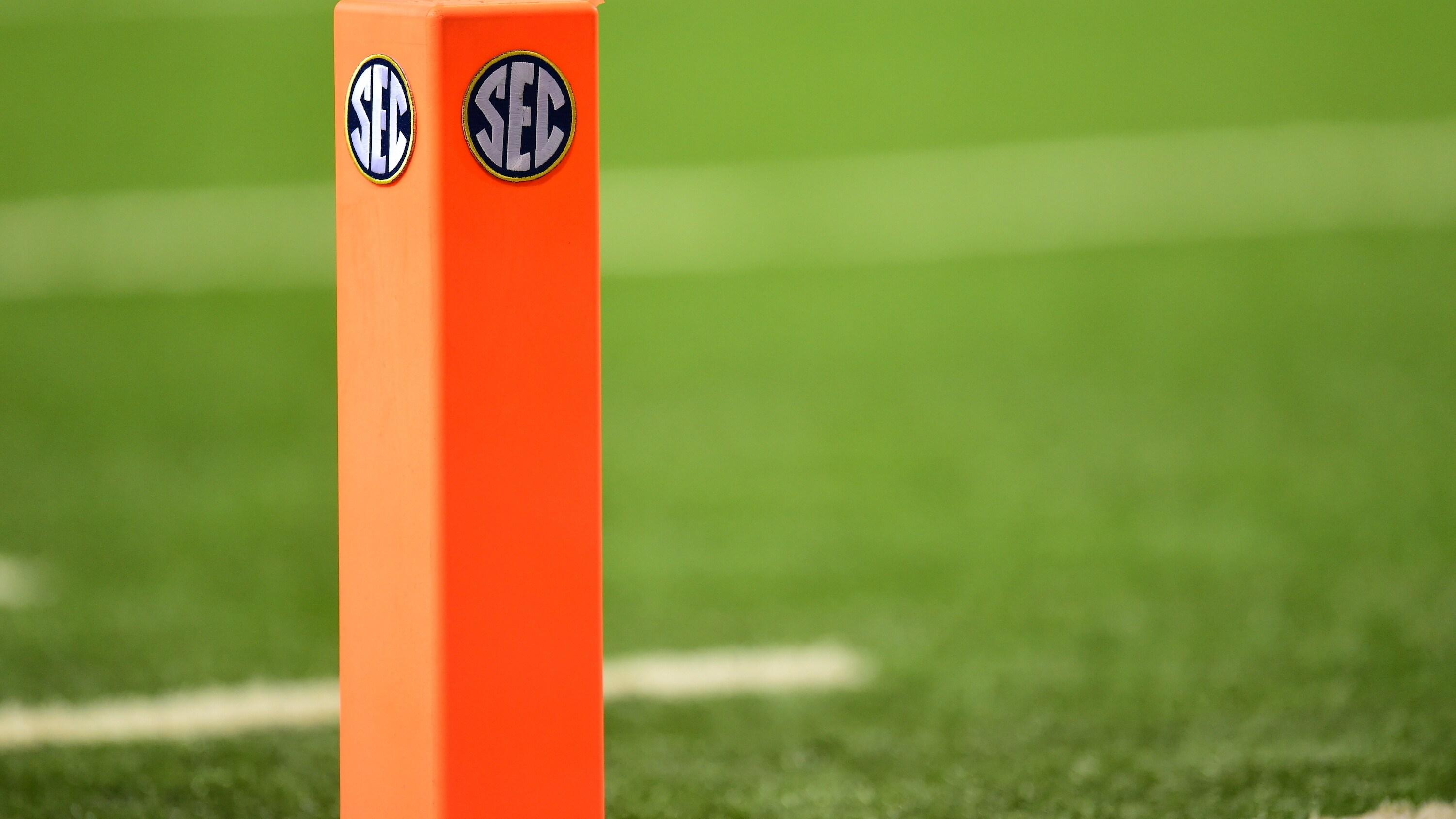 Atlanta, GA - December 6, 2014 - Georgia Dome: SEC logo during the 2014 SEC Championship game (Photo by Phil Ellsworth / ESPN Images)