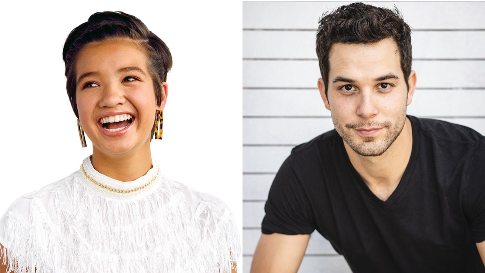 headshots of Peyton Elizabeth Lee and Skylar Astin