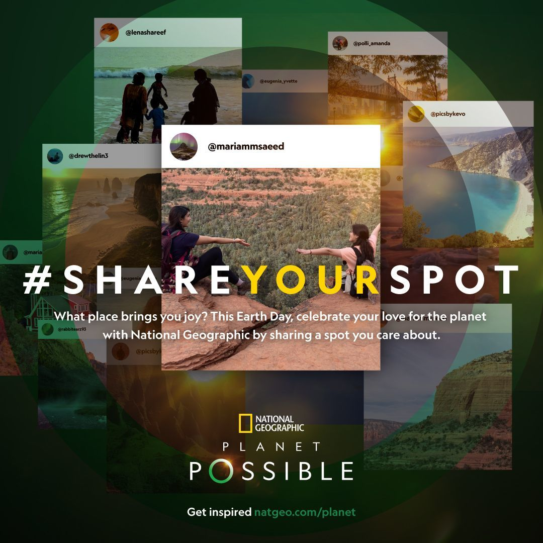 Hashtag Share Your Spot poster with ten overlapped instagram post examples in outdoor locations around the world