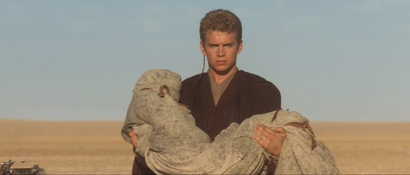Anakin Skywalker carries his mother