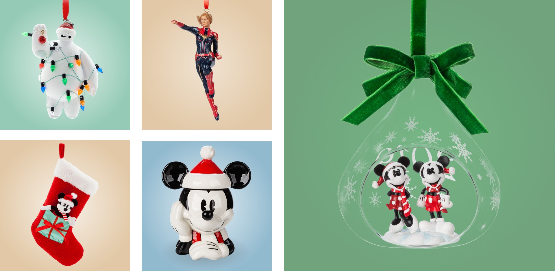 A selection of Disney Christmas decorations