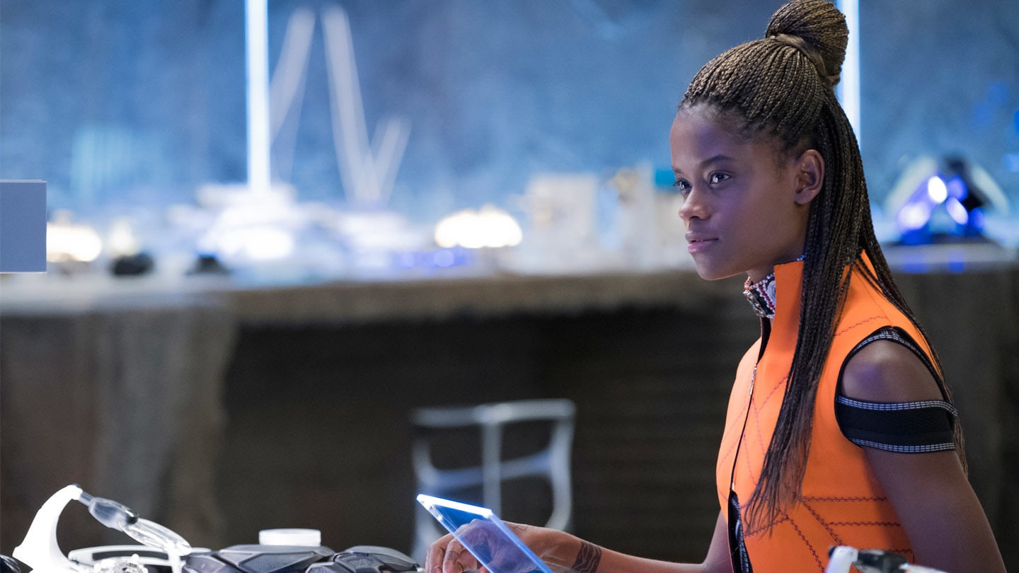 A close-up of Shuri (Letitia Wright), the princess of Wakanda