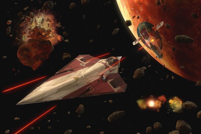 Slave I attacks Obi-Wan Kenobi's starfighter