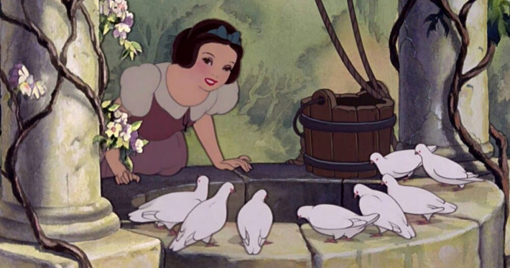 Snow White at the wishing well.