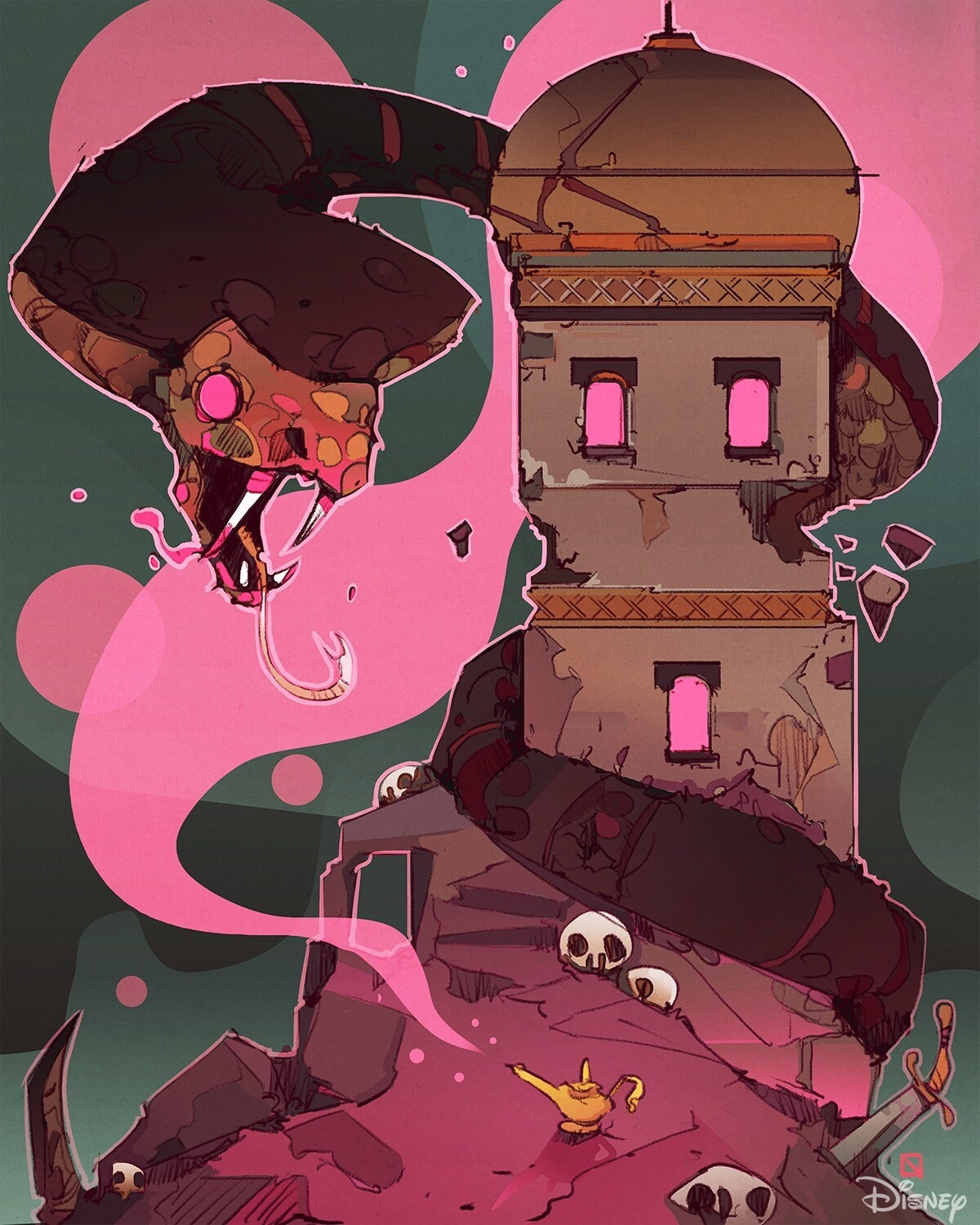 Jafar as a snake wrapping around a tower surrounded by pink smoke coming out of the lamp