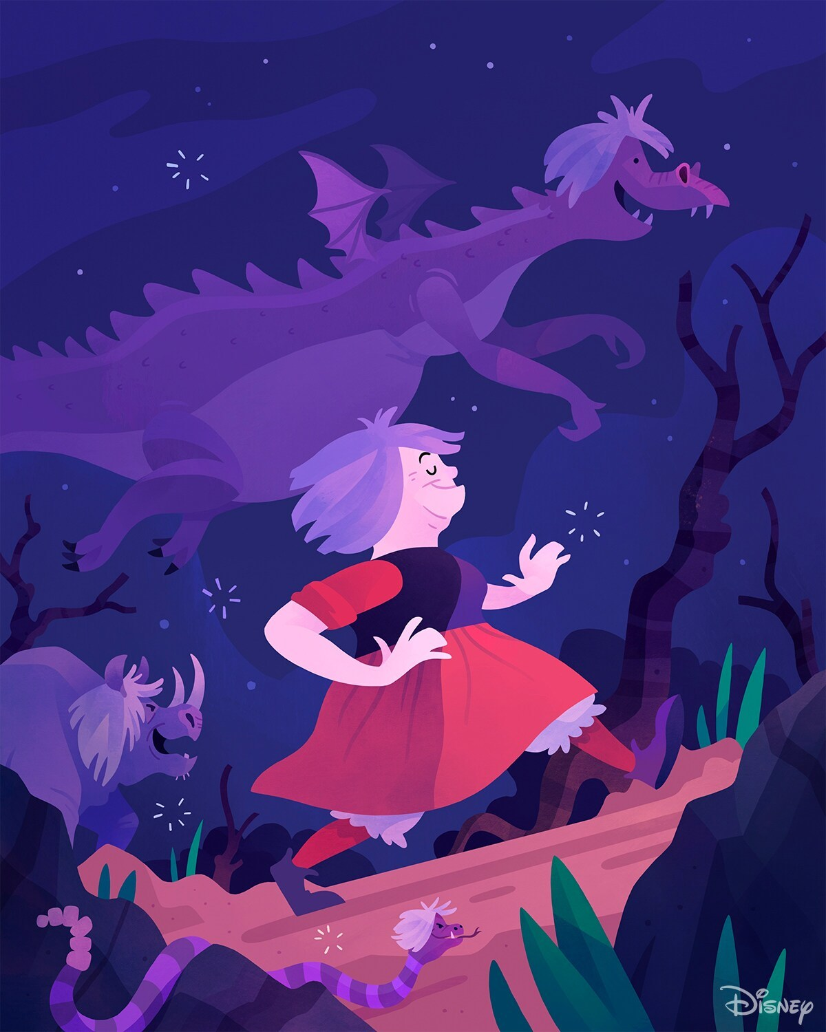 Madam Min in a red dress, as a snake, a rhino and a dragon